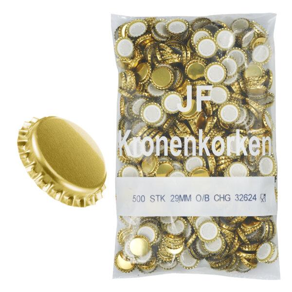 Kronenkorken Sekt 29mm gold 500 Stk.